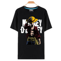 um anime partes venda por atacado-One Piece Camisetas Luffy Chapéu De Palha Anime Japonês Camisetas O -Neck Preto T-Shirt Para Homens Anime Design One Piece T-Shirt Camisetas