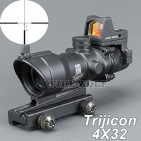 Wholesale red light sensors - Trijicon ACOG Style 4x32 Scope with Docter Mini Red Dot Light Sensor (Black) for Hunting FREE SHIPPING