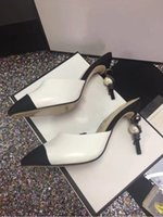 perle schuhe damen größe großhandel-Big Size Euro 42 Prom Party Hochzeitskleid Schuhe Dünne High Heels mit Perlen Damen Slippres Frauen Pumps