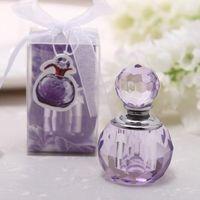 perfume de cristal roxo venda por atacado-100 pcs Frete Grátis Crystal Wedding Favor Rosa Roxo Frasco De Perfume Presente Para O Casamento Lembrança Para Convidado Bomboniere Nascita