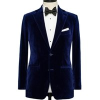 Wholesale worn corduroy pants resale online – Royal Blue Velvet Wedding Men Suits for Groom Wear Two Piece Notched Lapel Custom Made Wedding Groom Tuxedos Jacket Black Pants