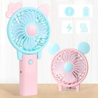 Wholesale folding mouse - Mini Folding Portable Fan Cartoon Cat Mouse USB Rechargeable Foldable Handheld Summer Air Cooler Cooling Fan Portable Fan Kids Toys ZB006 7