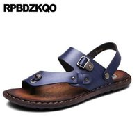 ingrosso cinturino in pelle gialla-Strap Yellow Shoes Blue Slides Soft Nice Slippers Leather Mens Sandali 2018 Summer Outdoor Toe Loop Nativo giapponese impermeabile