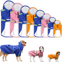 Wholesale pets clothing colors online - 8 Size Pet Dog Raincoat Waterproof Outdoor pet Doggie Rain Coat Rainwear Clothes Reflective Stripe Jacket Clothes Apparel Colors AAA830