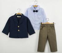 erkek çocuk kot pantolon gömlek toptan satış-Çocuk Boys Giyim Setleri Bebek Beyefendi Blazers Suit Ilmek Düğme Çizgili Polo Gömlek Pantolon Kot Tek Sıra Toka Fermuarlı Cebi Ceket 2-8 T