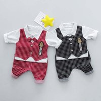 Wholesale Baby Waistcoat Outfit - 2018 New Spring Baby Boys Clothing sets gentleman 3pcs shirt waistcoat Pants Boys Suits Children Outfit Newborn Outfits Infant Clothes A1552