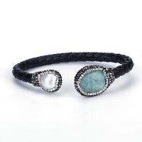 ingrosso braccialetto di perle d'acqua dolce nera-Bracciale rigido aperto con polsino regolabile in argento