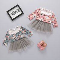 Wholesale Full Chiffon Skirt - Girls Rabbit Dress Shirts Rabbit Top TUTU Skirts Breathable Long Sleeve Round Neck Princess Dress 6-24M