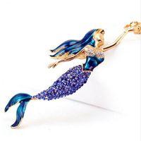 Wholesale Led Heart Crystal - beijia Mermaid Sea-maid Key Chains Rings Holder Enamel Crystal Purse Bag Buckle Pendant For Car Keyrings KeyChains K270