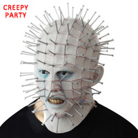 schöne halbmasken für frauen großhandel-Halloween Maske Horror Film Hellraiser Scary Pinhead Masken Grimasse Monster Adult Cosplay Realistische Latex Party Masken