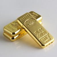 ingrosso sigarette eco-Nuovi accessori per sigarette di arrivo Fashion new Gold bar Torch shape Accendigas butano Mola metallo accendino