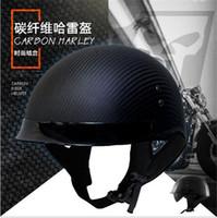 kohlefaser motorrad halbe helme großhandel-HEISSER VERKAUF Deutscher Motorradhelm aus reiner Carbonfaser mit Halbvisier, DOT-geprüft, leichter Jethelm mit innerer Sonnenbrille