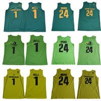 freie sport-uniformen großhandel-Männer College Oregon Ducks Trikots Universität 1 Bol Bol 24 Louis King Jersey Basketball Sport Uniform Grün Gelb Team Farbe Freies Verschiffen