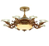 moderne versenkbare beleuchtung großhandel-Europäische Moderne LED E14 * 8 Unsichtbare Versenkbare Deckenventilatoren Mit Licht Wohnzimmer Faltende Deckenventilator Lampe Fernbedienung LLFA