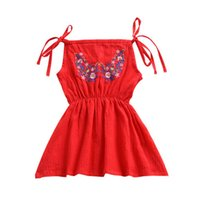 Wholesale breathable knee brace - Girls Embroidered Dress 1-4T Braces Skirt Sleeveless Red Dresses Summer Cotton Floral Dress Breathable Sling Dress TIANGELTG