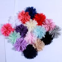 chiffon schuhe schnürsenkel großhandel-120PCS 6.5CM Polyester-flaumige Ballerina-Chiffon- Blume für Kinder kleiden Stirnband-Schuh-Zusätze Sonnenblume-Spitze-Gewebe-Blumen an