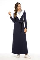 xl roupa feminina muçulmana venda por atacado-Inverno Outono Moda Feminina Roupas Casuais Soltas de Manga Comprida Muçulmano Tops Longos Com Capuz Camisa Muçulmana Com Cinto de Inverno Muçulmano Com Capuz