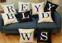 Wholesale room letters decor - Fashion LED lampion letter english printed waist pillow cushion pillowcase throw for hotel coffe home living room decor pillow coverative