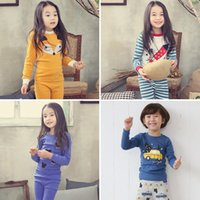 Wholesale animal foxes resale online - 2018 new baby pajamas outfits cotton boys girls Animal fox print top pants set cartoon kids Clothing Sets styles DHL C3372