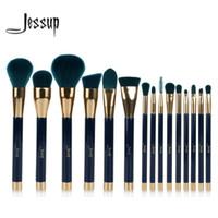 Wholesale makeup jessup brush set resale online - Jessup Makeup Brushes Set Powder Foundation Eyeshadow Eyeliner Lip Contour Concealer Smudge Brush Tool Blue Darkgreen