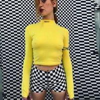 ingrosso camicette gialle per le donne-Maglia da donna con maniche lunghe a maniche lunghe Crop Top con colletto corto Crop Blouse Tops Yellow Autumn
