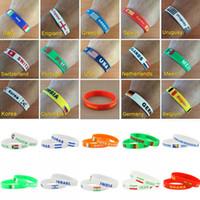 Wholesale New Arrival World Cup Football Flag Wristband Soccer Fans Silicone Bracelet Souvenir Men Sport Wrist Band Bangle