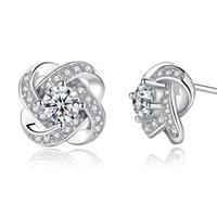 brincos flor venda por atacado-925 brincos de prata trevo do parafuso prisioneiro flor diamante brincos de prata de jóias por atacado