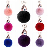 Wholesale rabbit hair handbags online - 11 Colors cm Women Rabbit Hair Fur Ball Keychain Water Drops Eyes Girl Handbag Accessories Key Chain Pompom Bag Accessory CCA9033