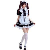 ingrosso cosplay bianca nera bianca-Lolita cameriere in bianco e nero installato costumi cosplay cafe abiti da lavoro costumi cameriera anime abito lolita