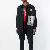 chaqueta de pasarela al por mayor-RAF SIMMONS 18ss DENIM CHAQUETA camisa PVC TAPE CUANTO ANTES ROCKY STYLE LOng Sleeve JACKET Catwalk Show Producto HFLSJK099