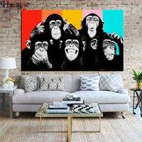 imagens de color animal venda por atacado-ZYXIAO Cartaz E Impressões Pintura Da Lona de Arte Da Parede do animal Chimpanzé Parede Pictures Para Sala de estar cor Decoração No Frame pintura ys0016