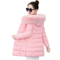 Wholesale fur collar parka - Korean Style Winter Coat Women Fur Collar Padded-Cotton Parkas Female Thicker Coats Jackets Medium-Long Hooded Overcoats Women