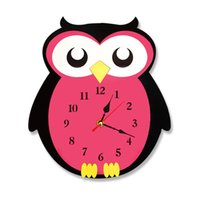 Wholesale craft owls - Cute Owl Wall Clock Watch Stickers Home Decor Bedroom Decoration Wall Mirror wallpaper Household Art and Craft Suppiles