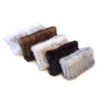 diademas de piel para mujer al por mayor-Bufanda de punto de la bufanda de la piel de la moda de las mujeres Diadema de piel caliente