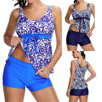 Wholesale floral tankini top - 2017 Sexy Women Tankini Two-Pieces Swimsuits Plus Size Padded Beach Wear Dress Top Trunk Bottom Bathing Suits