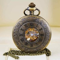 Wholesale Watch Steampunk Skeleton Mechanical Pocket Watch For Women Men Mechanical Clock Roman Numeral Dial