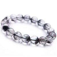 рутиловый кристалл оптовых-2018 Fashion Newly Natural Black Rutilated Quartz Round Crystal Bead Bracelet Trendy Men Women Crystal Round  Bracelet