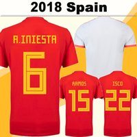 jerseys de fútbol de equipo para al por mayor-2018 World Cup España A.INIESTA camisetas de fútbol ISCO DIEGO COSTA Home Red Jerseys Equipo nacional ASENSIO PIQUE Away White Men Football Shirts