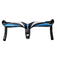 bicicletas de trem taiwan venda por atacado-Guiador integrado FUTURO da fibra do carbono da estrada azul de Taiwan da cor com haste do carbono
