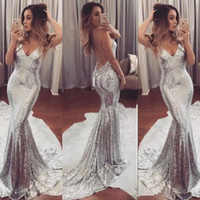 Wholesale occasion dress - Sexy Backless Silver Sequin Prom Dresses Mermaid Evening Gowns Simple Women Formal Party Dresses Evening Wear Special Occasion Dresses