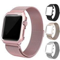 assistir a tampa de aço venda por atacado-Milanese pulseira de aço inoxidável para apple iwatch pulseira de relógio banda + capa case para apple watch series 1 2 3 iwatch 38mm / 42mm