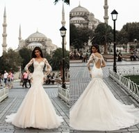 Wholesale keyhole back trumpet wedding dress online - 2018 Gorgeous Mermaid Wedding Dresses Scoop Neck Long Sleeves Beaded Crystal Appliqued Lace Keyhole Back Court Train Bridal Gowns