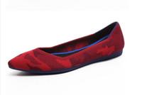 ingrosso tacchi dei balletti-2018 Scarpe donna primavera scarpe da donna Ballerine morbide Tacco piatto lavorato a maglia tempo libero punta a punta bocca superficiale W381