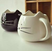 cerâmica de chá venda por atacado-Cerâmica 1 pcs Novidade Bonito Gato Animal Leite Caneca De Cerâmica Criativa Café Porcelana Xícara De Chá Agradável Presentes Cerâmica Criativa