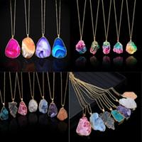 ingrosso collana di pietra dell'agata-Fashion Natural stone Crystal Lines Lines Shine Collana con colori arcobaleno Collana in agata