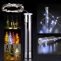 flaschenlampe diy großhandel-20 LED Batterie Überzug Wein Flaschenverschluss Kupfer DIY LED Lichterketten Fairy Strip Nacht Lampe Outdoor Party Lichter Dekoration