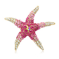 Wholesale crystal starfish brooch pin - Factory Direct Sale Blue and Red AB Crystal Rhinestones Pave Setting Starfish Brooch Pins for Women