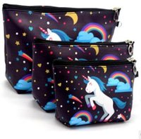 Wholesale american cosmetic resale online - Unicorn cartoon print cosmetic bag European and American animal flamingo owl plant forest waterproof kit