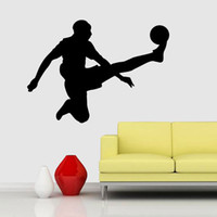 ingrosso camera da letto sportiva dei ragazzi-Football Player Wall Sticker Soccer Sport Decalcomania della parete Vinyl Decor for Boys Nursery Living Room Bedroom School Office