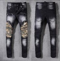 Wholesale Men Paint Jeans - God of Fear Justin Bieber Fear of God Best Version FOG Men Selvedge Zipper Destroyed Tour Pants Skinny Jeans Blue Oil Painted Jeans
